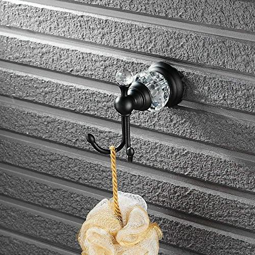Beelee Luxury & Brass Black Hook Bathroom Hangings Rack Double Wall Oil Bronze
