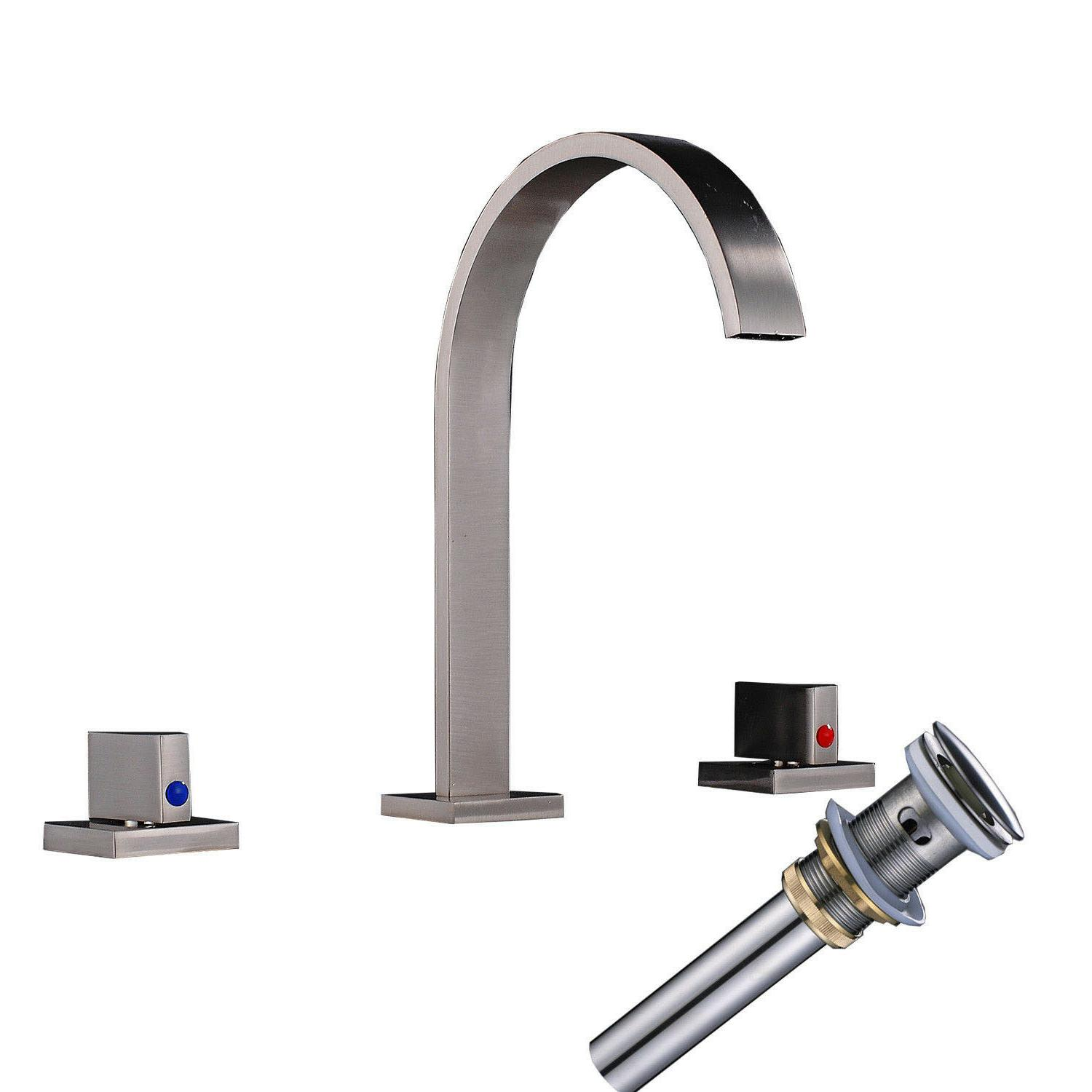 Bathroom Basin Faucet Brushed Nickel Waterfall Spout Sink Wi