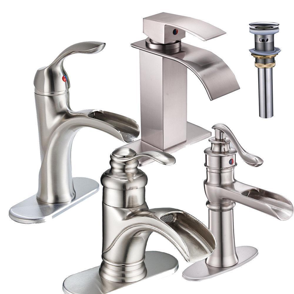 Bathroom Basin Faucet Sink Single Hole Waterfall Spout Brush
