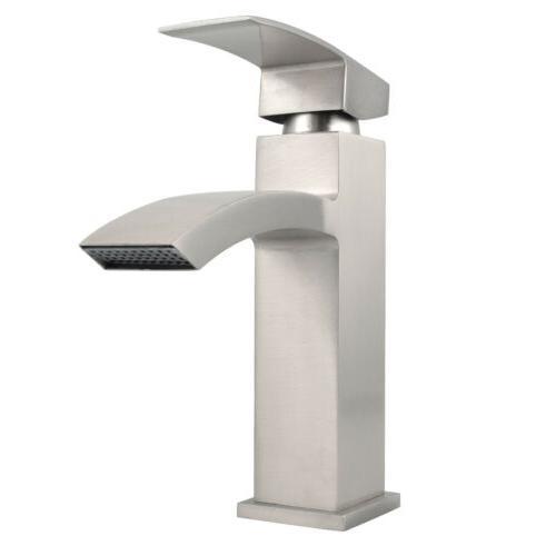 Bathroom Faucet Spout Basin Single Handle Hole Nickel