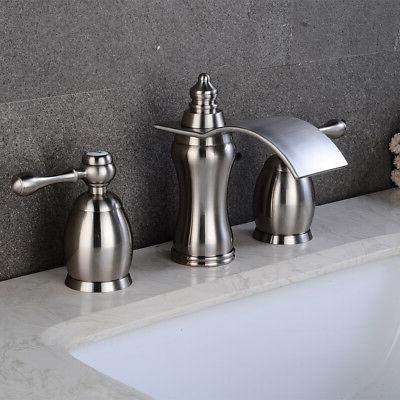 Bathroom Brushed Nickel Widespread Handles Tap