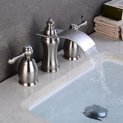 Bathroom Nickel Widespread Vessel Holes/Two Handles Tap
