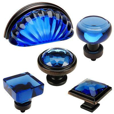 Cosmas Blue-Oil Rubbed Bronze Glass Cabinet Knobs, Cup Pulls