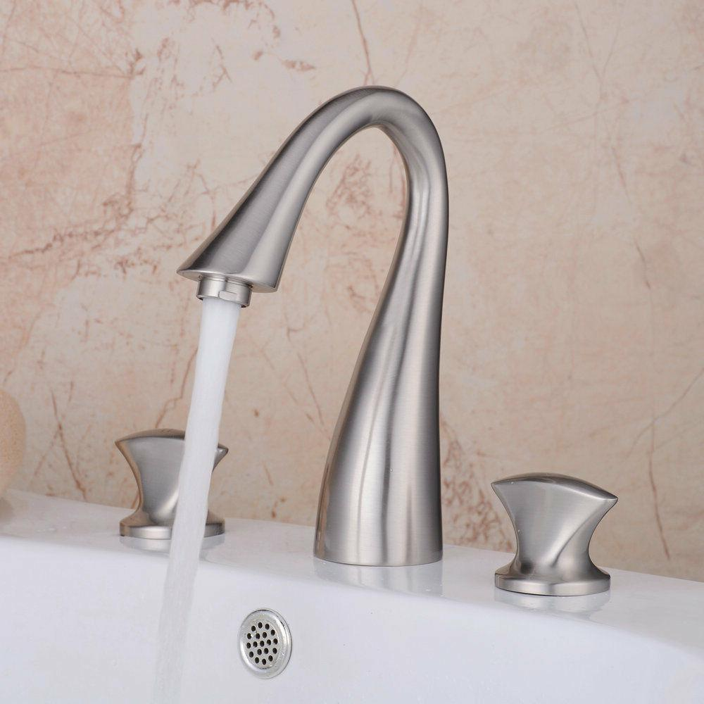 Brass Widespread 2 Handle Brushed Lavatory