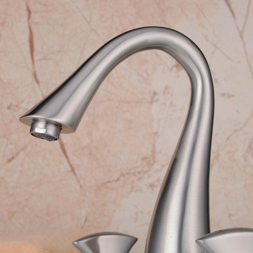 Brass Widespread Bathroom Faucet 2 Handle 3 Brushed Lavatory Faucet