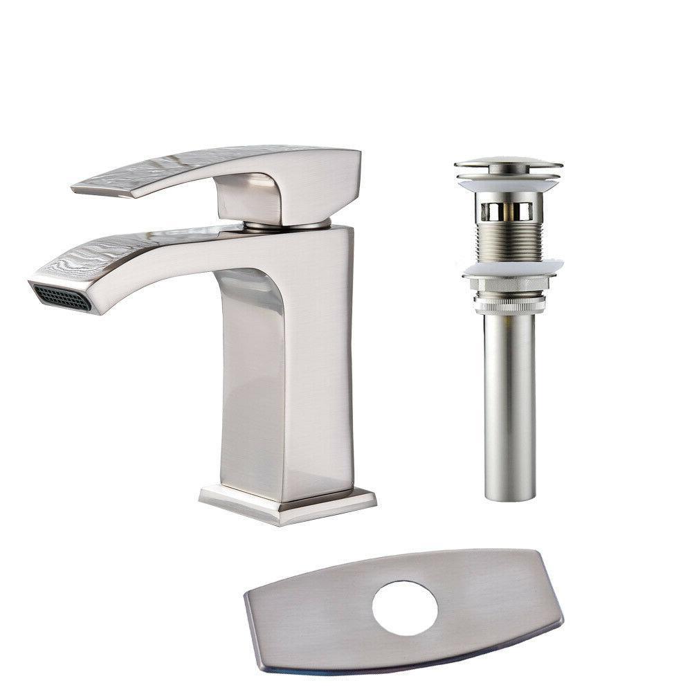 brushed nickel bathroom basin sink faucet waterfall