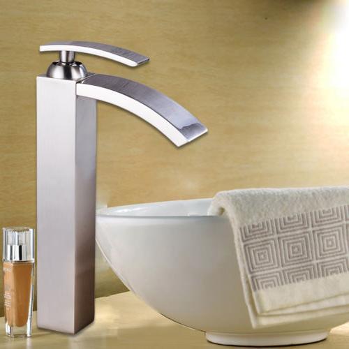 "12""Bathroom Basin Faucet Vanity Sink Mix Tap Square Waterf"