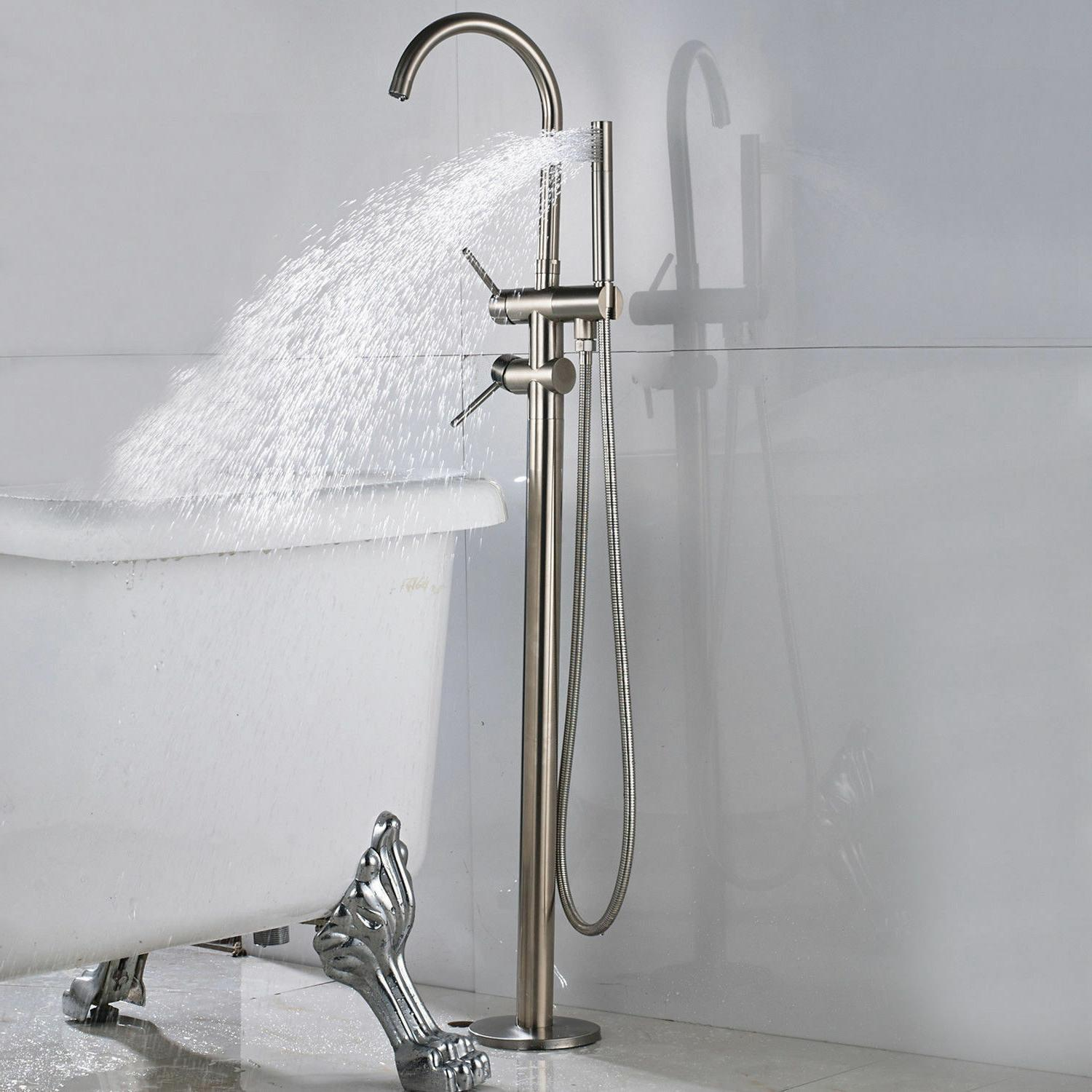 brushed nickel bathtub faucet floor mounted tub