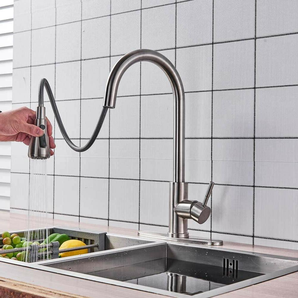Brushed Nickel Kitchen Faucet Sprayer Swivel Spout Mixer Tap