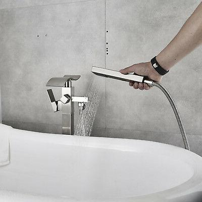 Brushed Floor Bathtub Faucet W/Hand