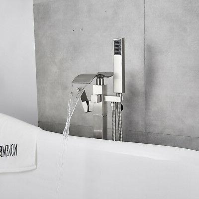Brushed Nickel Floor Mounted Bathtub Faucet Standing Faucet Shower