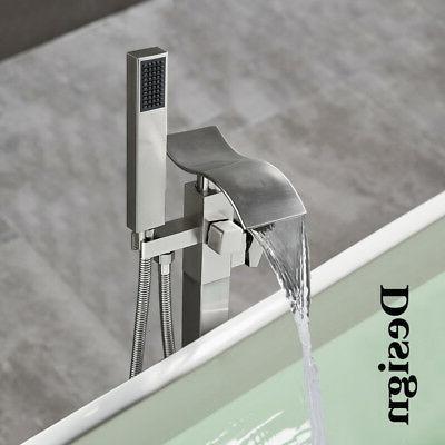 brushed nickel floor mounted bathtub faucet free