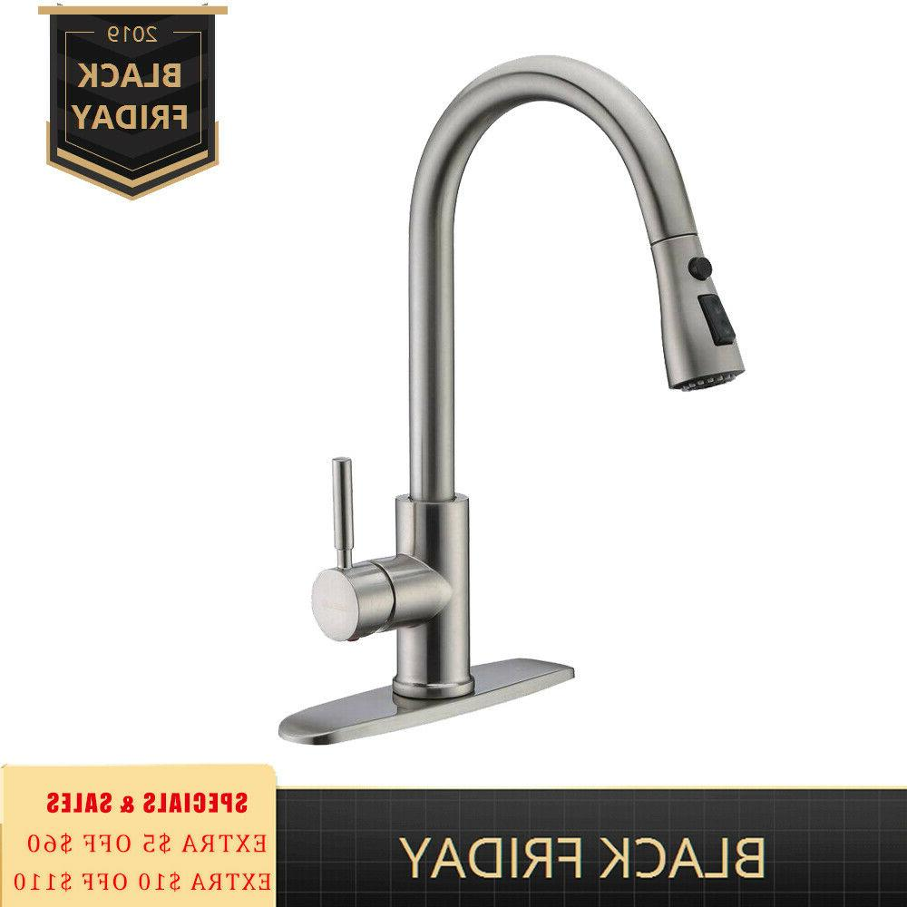 brushed nickel kitchen faucet pull