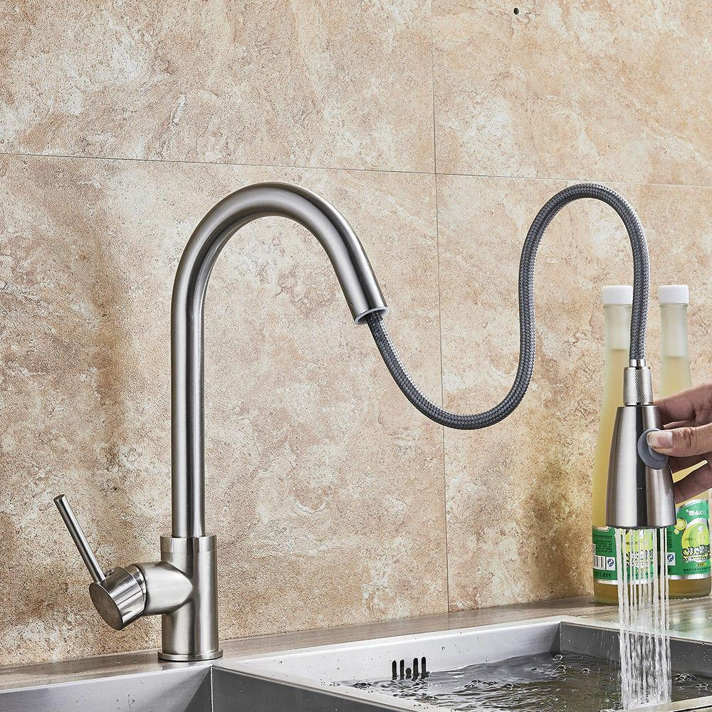 brushed nickel kitchen faucet pull out sprayer