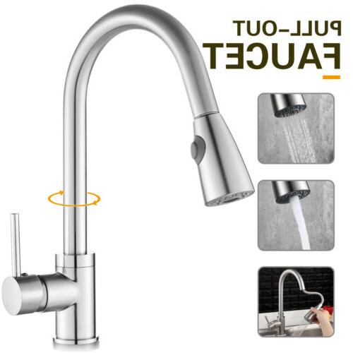 Brushed Nickel Kitchen Faucet Pull Out Sprayer Single Hole S