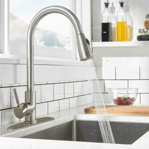 Single Handle High Arc Brushed Nickel Kitchen Sink Faucet wi