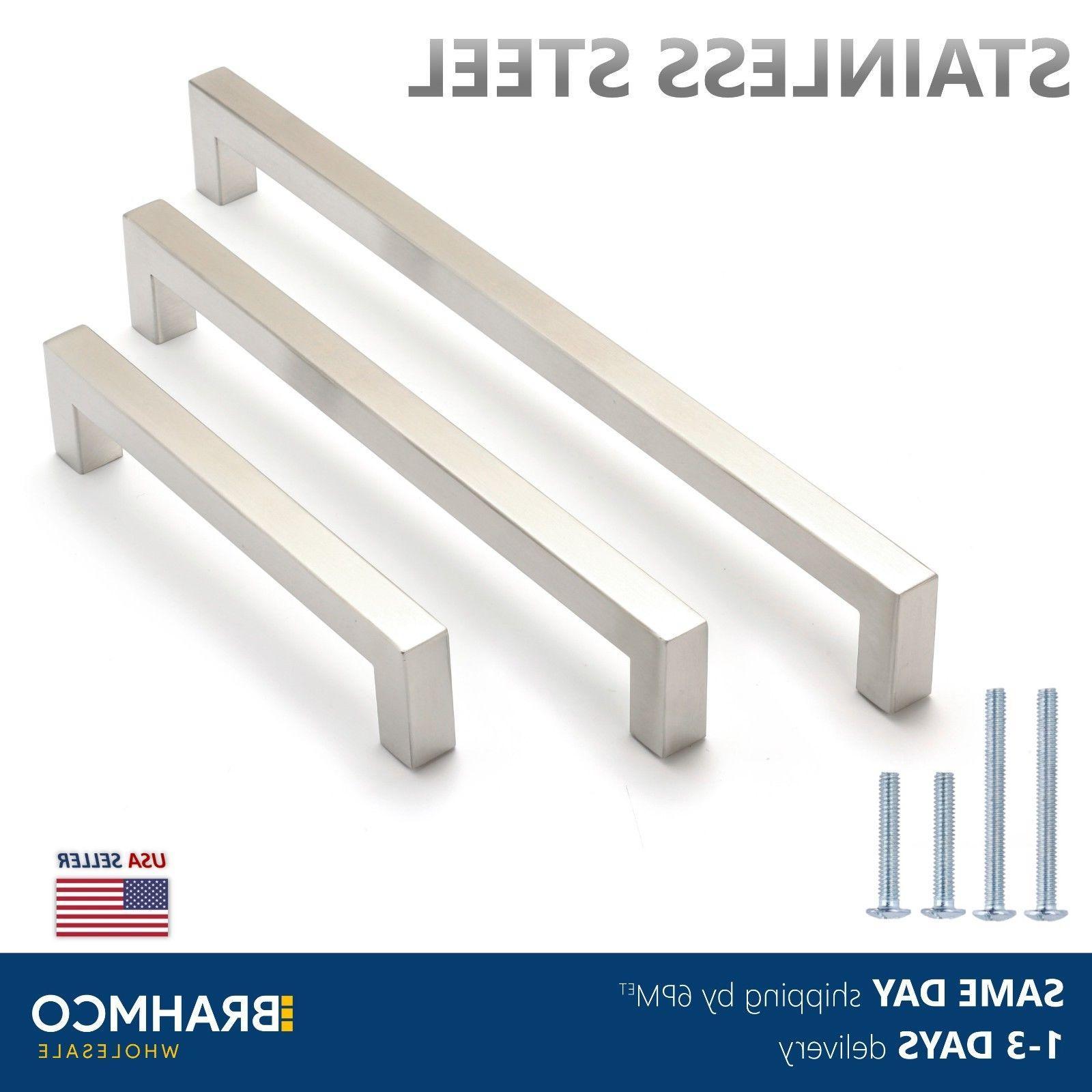 brushed nickel square bar pulls kitchen cabinet