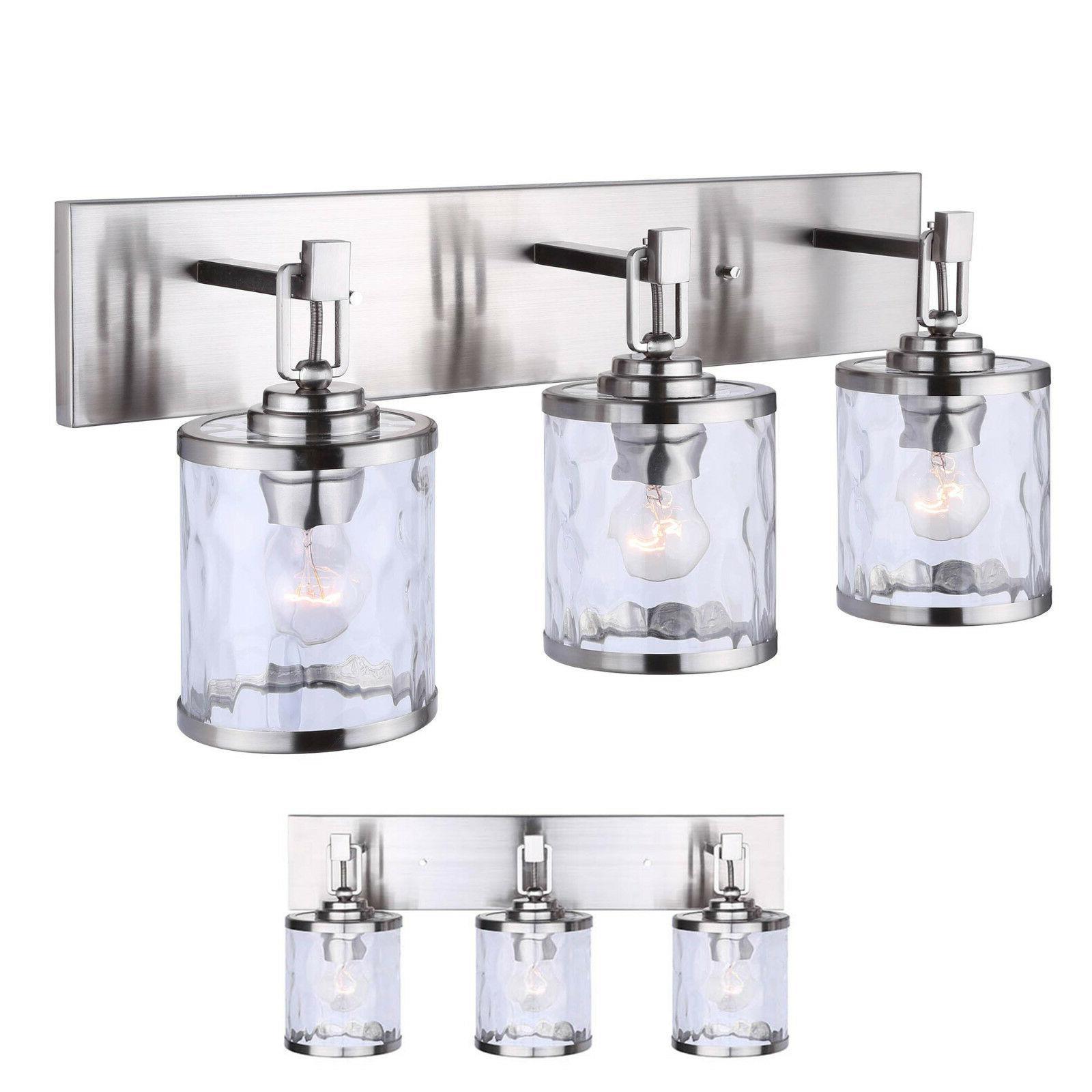 Brushed Nickel Vanity 3 Light Bathroom Fixture Bath Bar, Cle