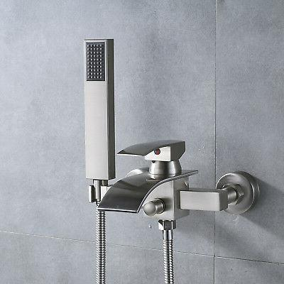 Brushed Nickel Wall Mount Tub Faucet Waterfall Single Handle