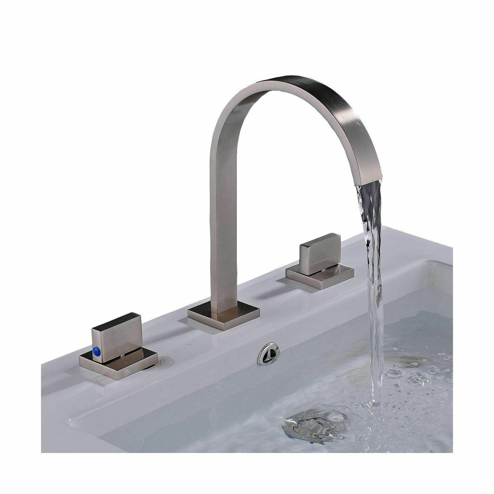 brushed nickel widespread 3pcs bathroom sink faucet