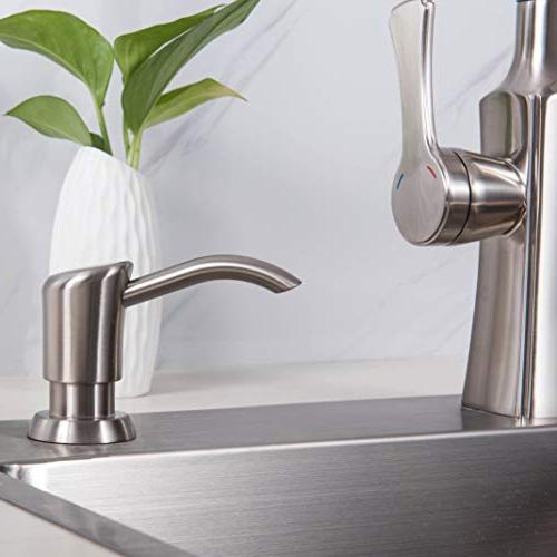 Gagal Soap Lotion Dispenser for Kitchen Sink, Brushed Nickel Pump Head with, 3 Nozzle, Bottle