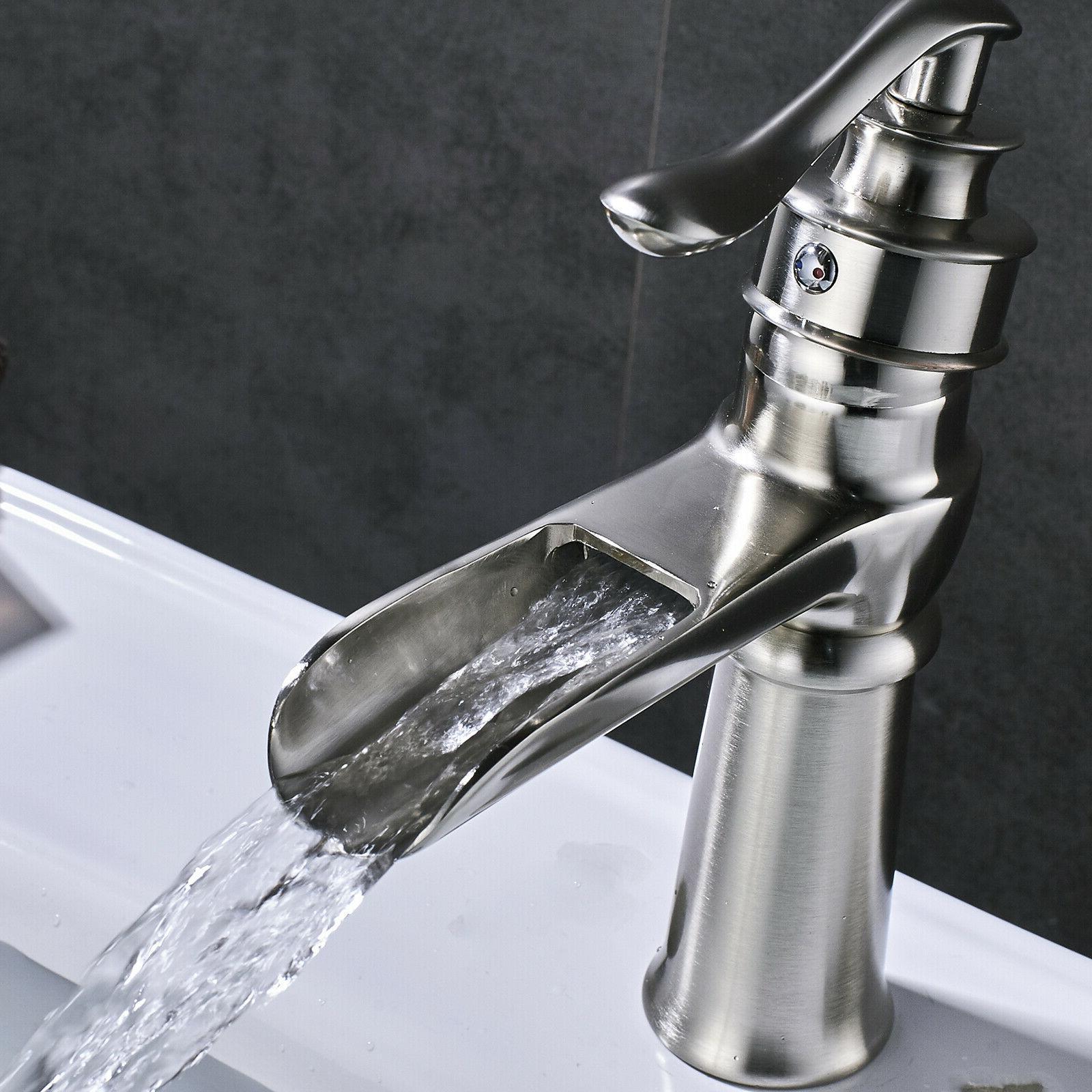 BWE Waterfall Brushed Nickel 3 Faucet