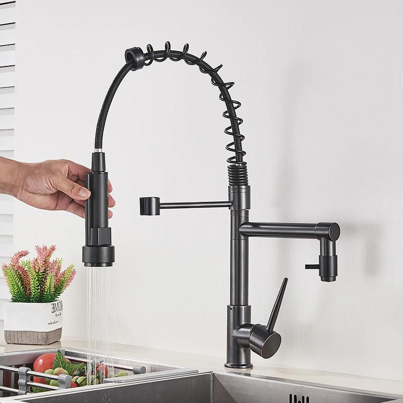 Chrome Faucet Swivel Spout Sink Pull Spray Mixer Tap