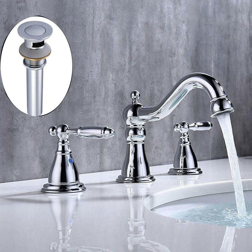 Chrome Widespread Sink with Pop-up Drain