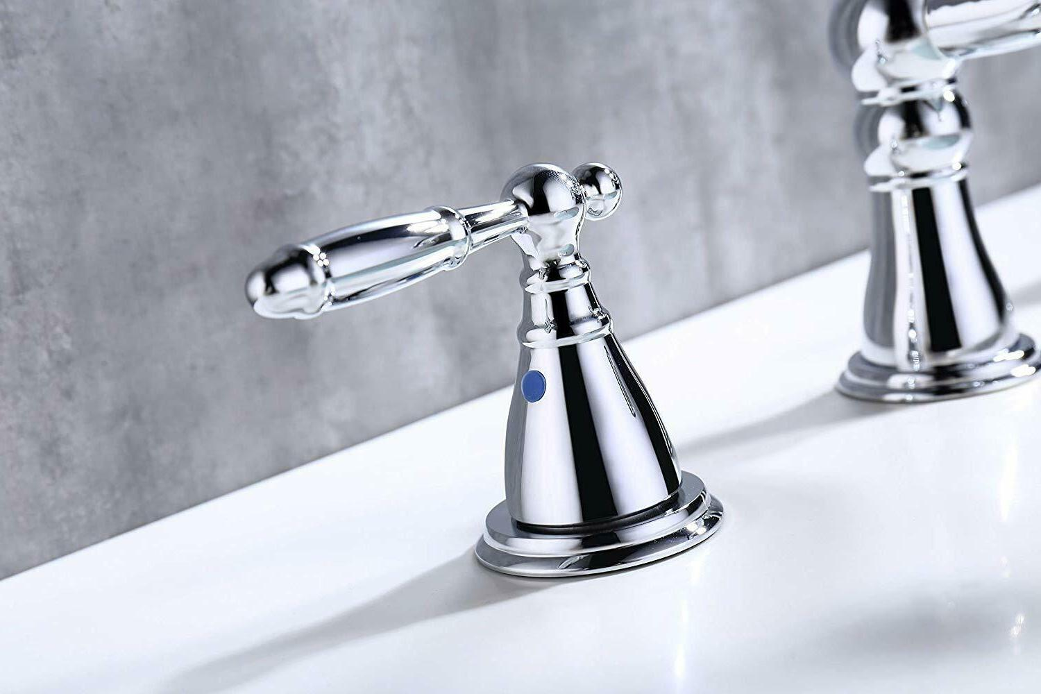 Chrome Polished Two Widespread Bathroom with Drain
