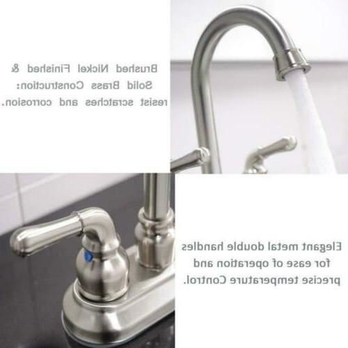 Commercial Brushed Nickel Double Bathroom Sink Faucet