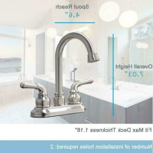 Commercial Contemporary Brushed Double Handle Sink Faucet