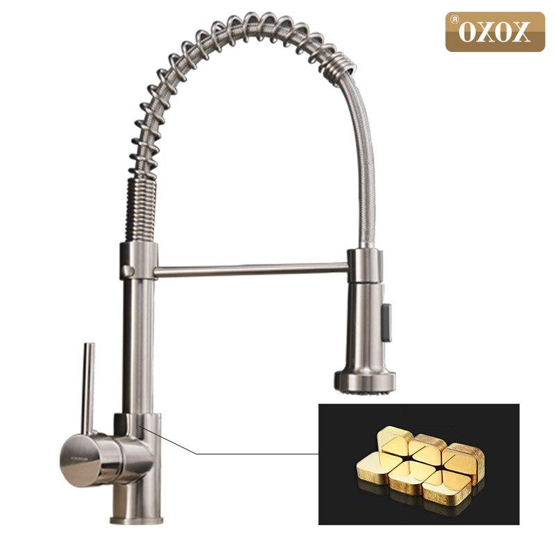 XOXO Kitchen Faucet Out <font><b>Brushed</b></font> Rotate Swivel 2-Function Water Mixer