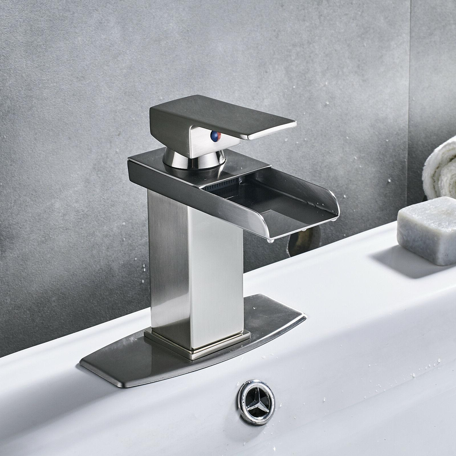 Bathroom Basin Faucet Brushed Nickel Waterfall Square Vanity