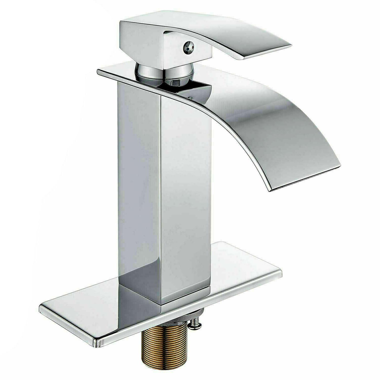 led bathroom basin faucet brushed nickel waterfall