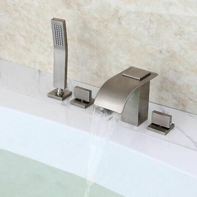 roman brushed nickel waterfall bathroom tub filler