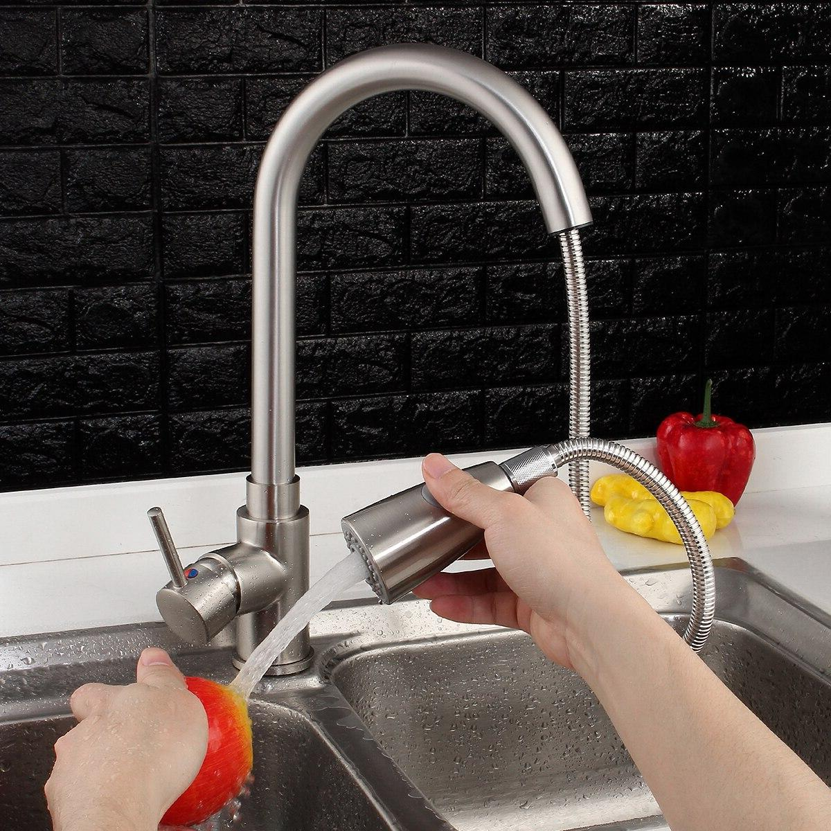 Nickel Degree Basin Spray Swivel Cold And Hot Tap