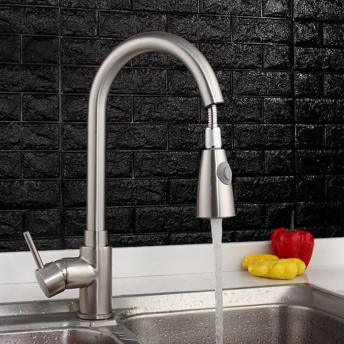 Nickel Brushed Degree Rotation Pull Basin Spray Swivel Single <font><b>Handle</b></font> Cold Mixer Tap