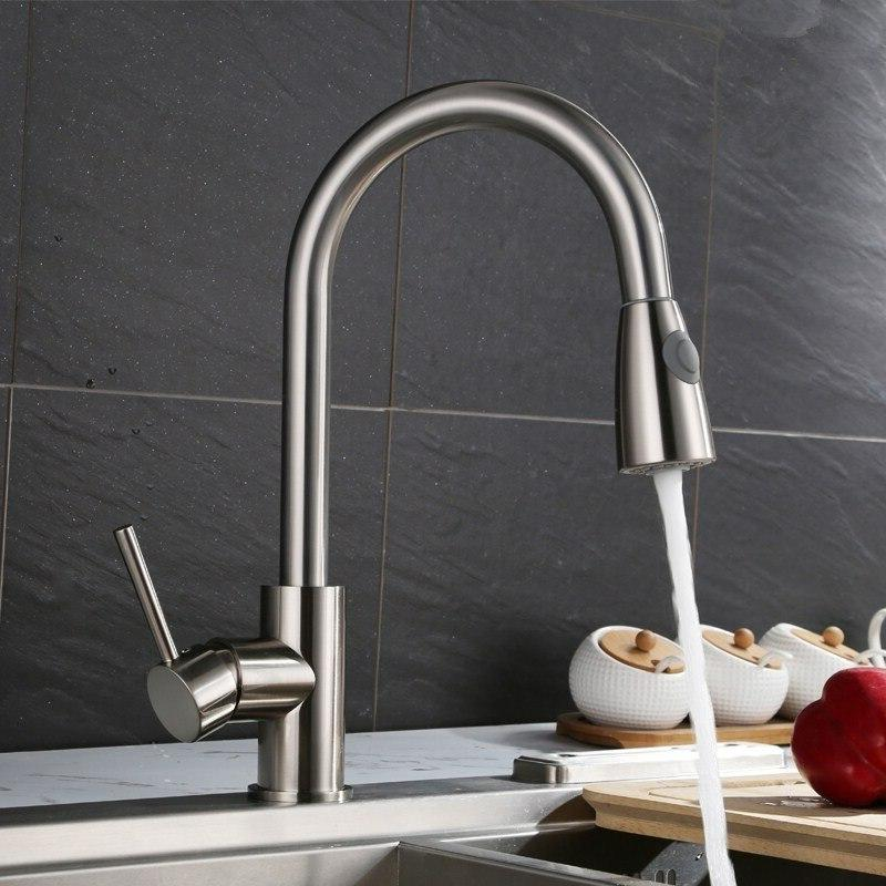 Nickel Brushed Degree Basin Water Spray Cold And Tap