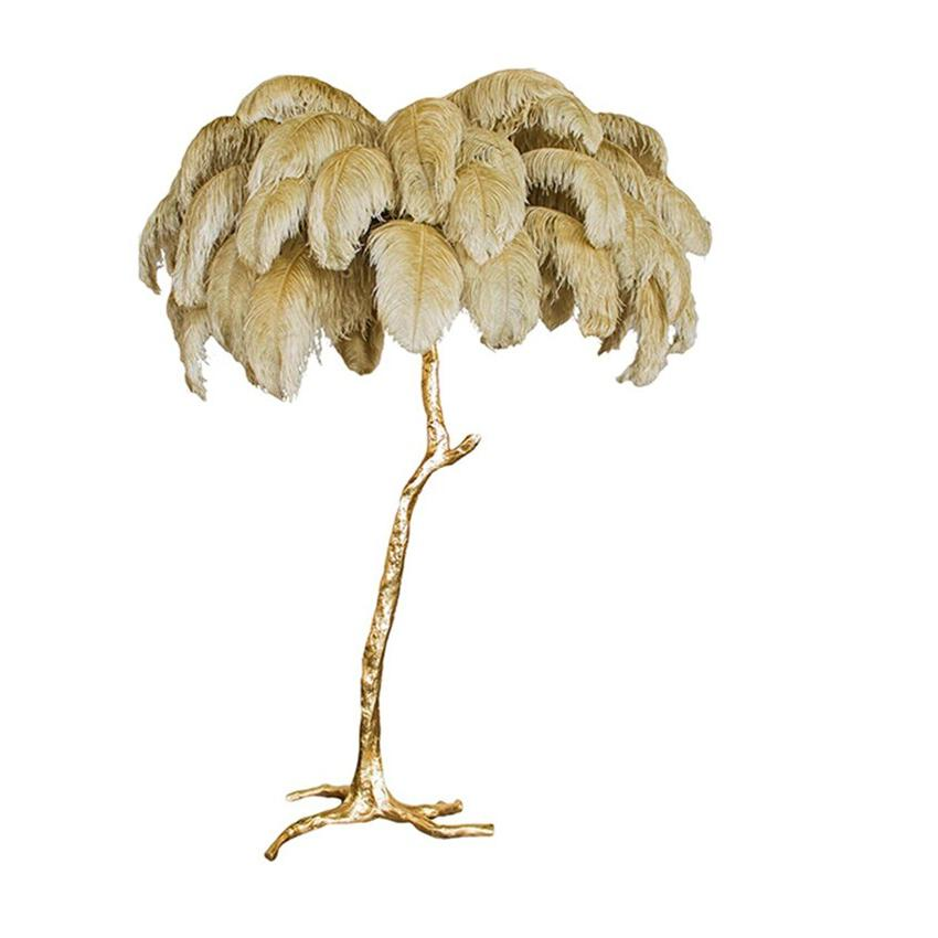 Nordic LED Floor Ostrich Gold Brass Resin Floor Tripot