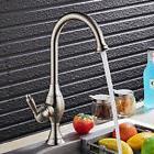One Hole Swivel Spout Gooseneck Kitchen Faucet 4 Style Brass