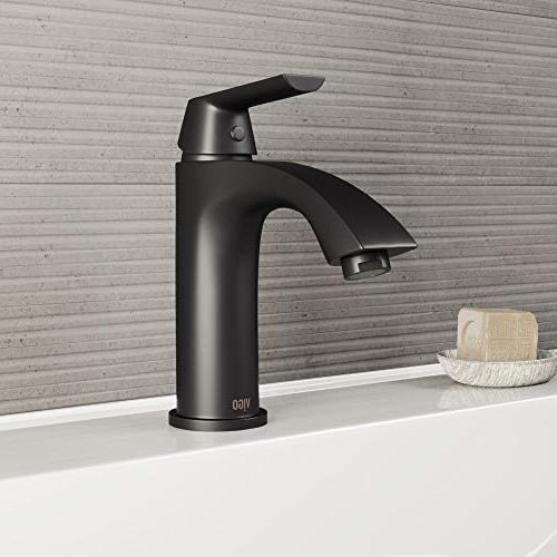 VIGO VG01028BN Penela Inch Brushed Faucet, Single-Hole Deck-Mount Vanity with Layer Plated Finish