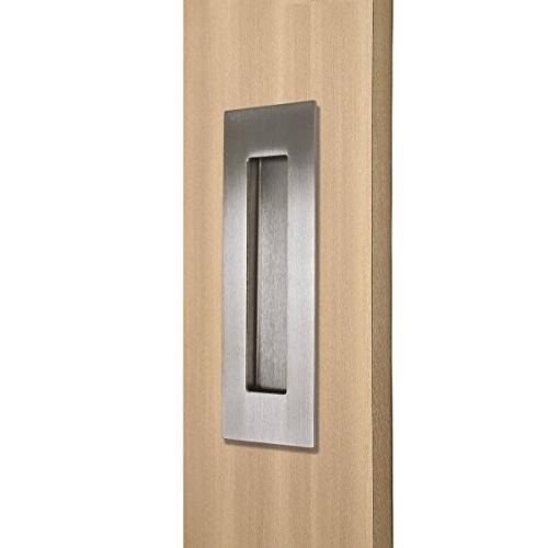Recessed Sliding Door Kitchen Cabinet Flush Brushed 6in x 2in 0.6in Stainless 1Pack