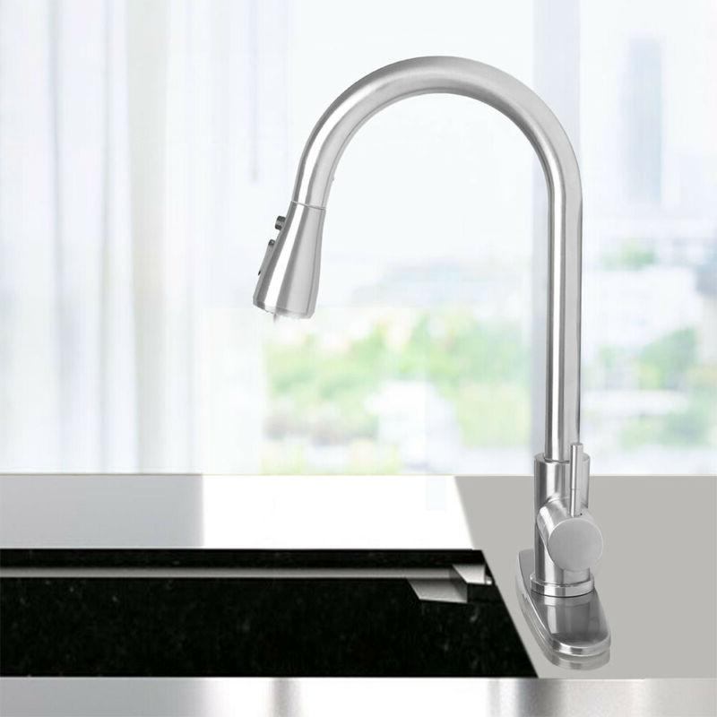 Single Handle Brushed Nickel Kitchen Faucet Sink Out