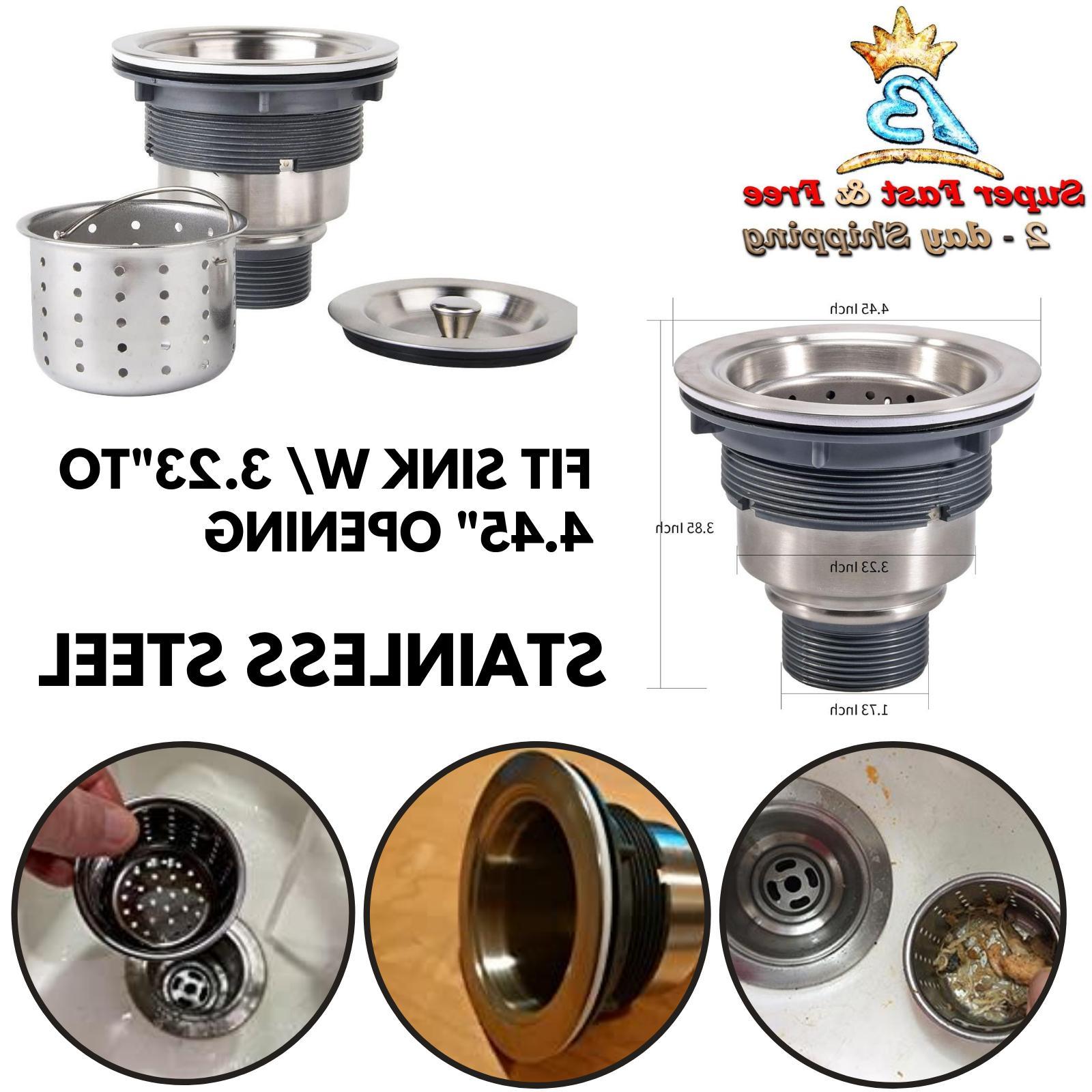 Stainless Steel Kitchen Sink Drain Deep Waste Basket Straine