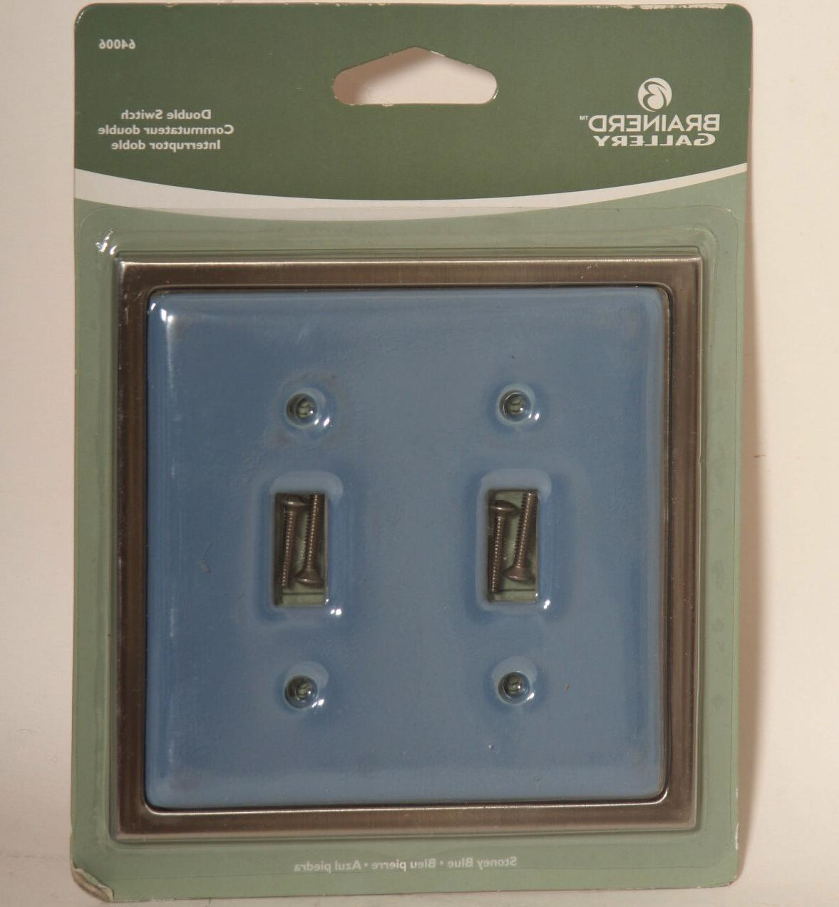 Stoney Blue Ceramic Brushed Nickel Double Light Switch Wallp