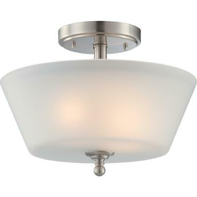Surrey - 2 Light Semi Flush Fixture with Frosted Glass Brush