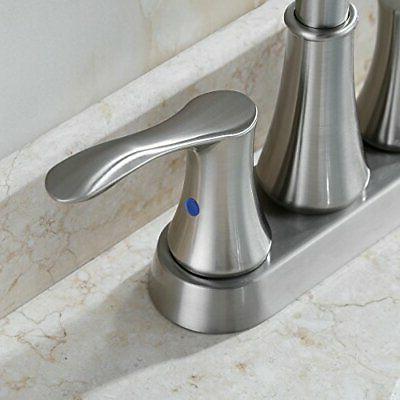 PARLOS Swivel Spout 2-handle Lavatory Faucet Brushed Nickel Bathroom Sink