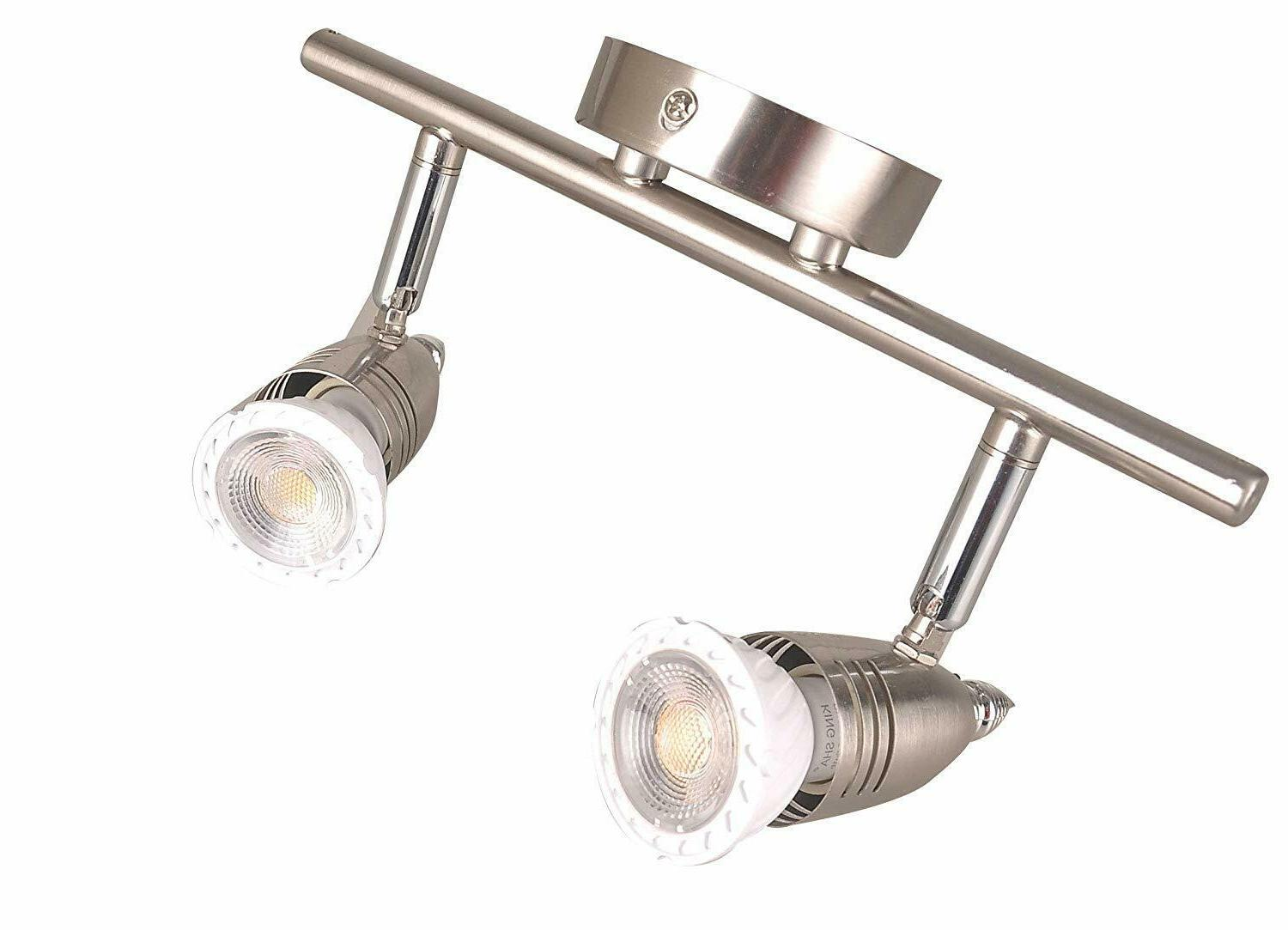 Two-Light Track Lighting Plug in,Brushed On/Off Switch,
