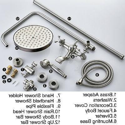 Wall 8-Inch Tub Mixer Tap Handheld Spray