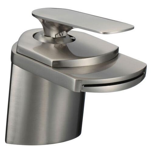 "4"" Waterfall Bathroom Faucets Brushed Nickel Vessel Lavatory"